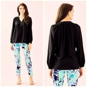 Lilly Pulitzer Elsa Silk Black Shirred Blouse - XS